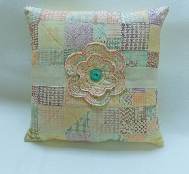 Pillow created with Faux Quilting Stamps