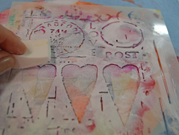 Stencil white acrylic with Love Post stencil